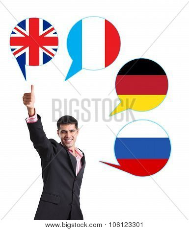 Businessman and bubbles with countries flags.