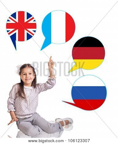 Little girl and bubbles with countries flags.
