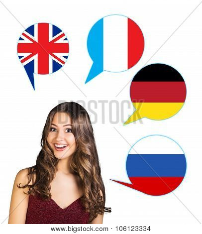 Woman and bubbles with countries flags.