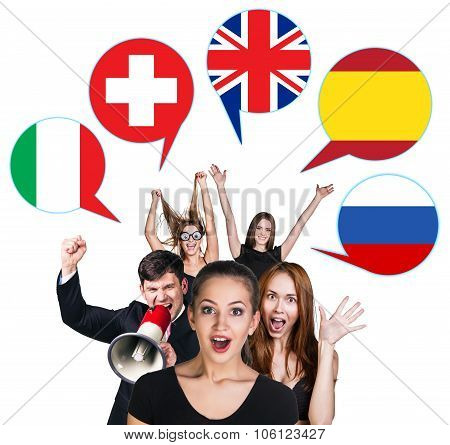 Group of people and bubbles with countries' flags