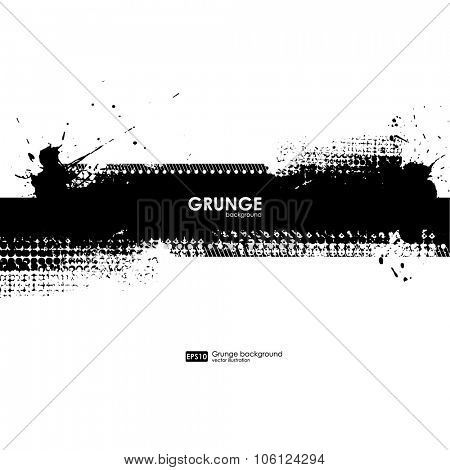 Ink Splash Background. Black Paint Splattered Shape. Grunge Background Texture. Vector Distress Background. Cracked Banner. Distress Texture. Grunge Texture. Brush Stroke. Print for t-shirt