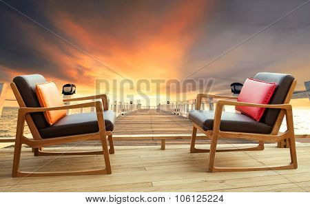Wood Chairs On Home Terrace Against Beautiful Dusky Sky And Good