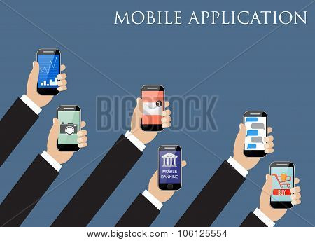 Mobile application concept. Hands holding phones.