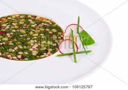 Okroshka From Fresh Vegetables. Cold Soup.