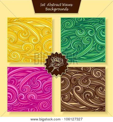 Set Abstract waves or circle hair background in magenta orange yellow green brown