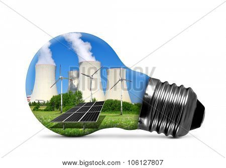 Nuclear power plant with solar panel and wind turbines in lightbulb isolated. Energy resources concept.