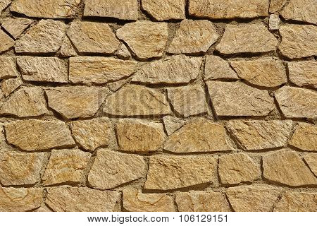 Tiled Stonewall From Flagstone And Limestone Rocks, Background Texture