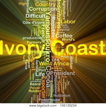 Background concept wordcloud illustration of Ivory Coast glowing light