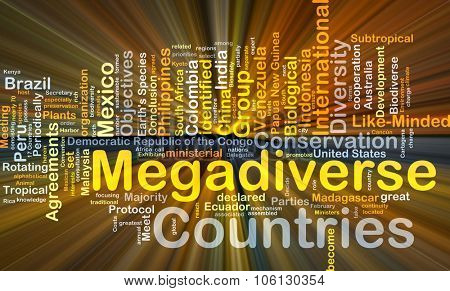 Background concept wordcloud illustration of megadiverse countries glowing light