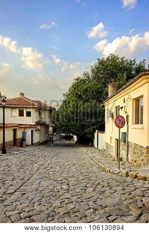 Plovdiv, Bulgaria. View On The Old Town Walk Street