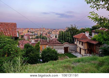 Bulgaria, Plovdiv Cityscape From Old Town In Evening