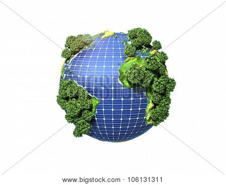 Concept Of Green Solar Energy. Green Planet Earth With Trees And Solar Panels In The Ocean.