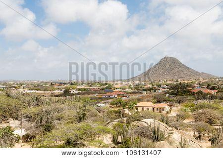 Aruba Desert Shacks With Mountain In Background
