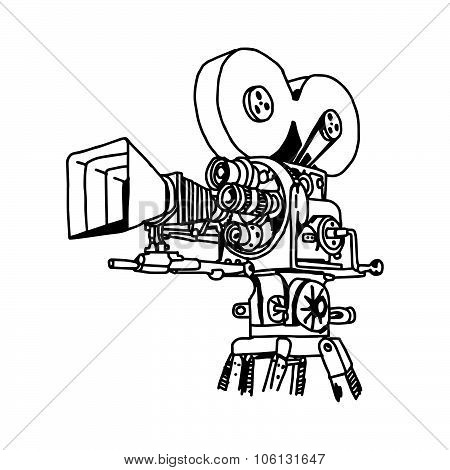 Illustration Vector Doodle Hand Drawn Of Movie Projector