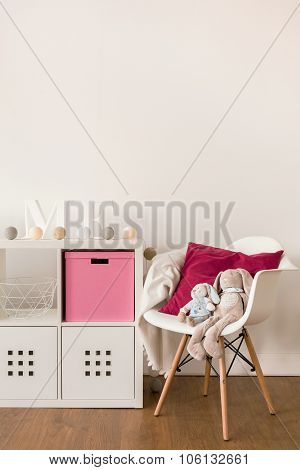 White Cabinet And Chair