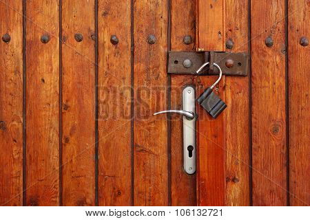Vintage Rustic Wooden Double Door Or Gate With Opened Padlock