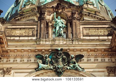 Great Stone Jesus On The Top Of Facade Of The Berliner Dom
