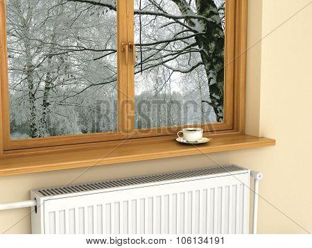 White Radiator Near The Window, Warm And Cozy