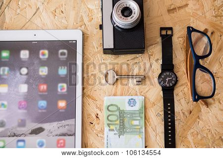 Smartphone, Camera And Wristwatch