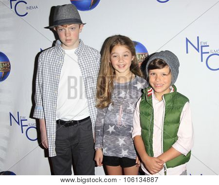 LOS ANGELES - OCT 24:  Brady Permenter, Laney Kate Hulbert, Jacob Skirtech at the
