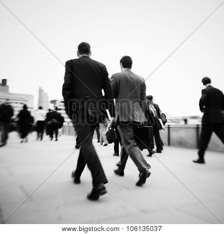 Business People Commuter Walking Travel Crowd Concept