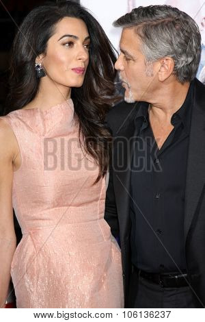 LOS ANGELES - OCT 26:  Amal Alamuddin Clooney, George Clooney at the