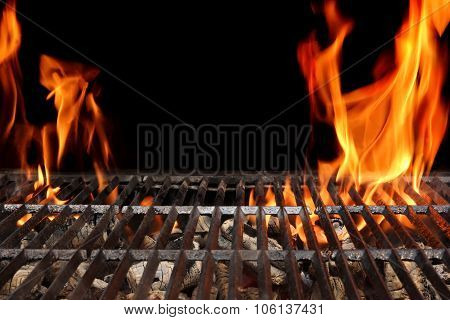 Empty Barbecue Grill With Bright Flames Closeup