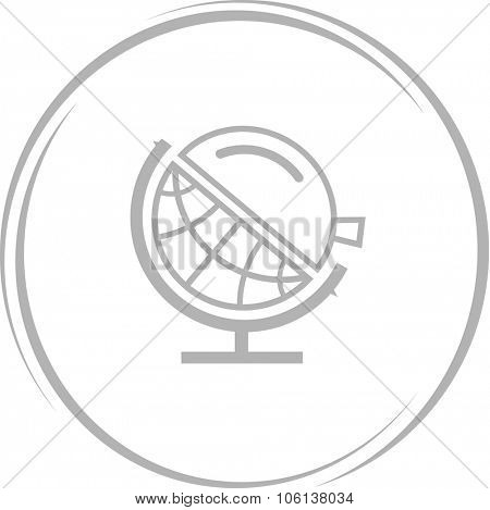 globe and loupe. Internet button. Vector icon.