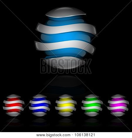 Colorful glossy spheres isolated.