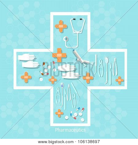 Medicine Medical Instruments Pills Tablets Capsules In Cross Shape Medical Background Vector