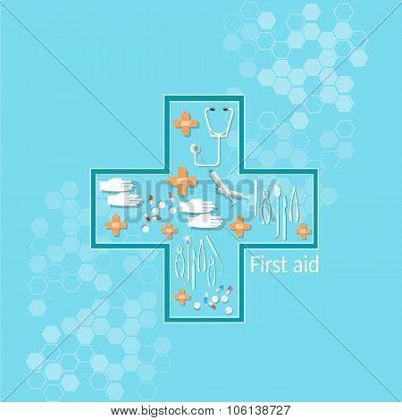 Medicine Pharmaceuticals Health Care Medical Research Pills Tablets Capsules In Cross Shape Vector