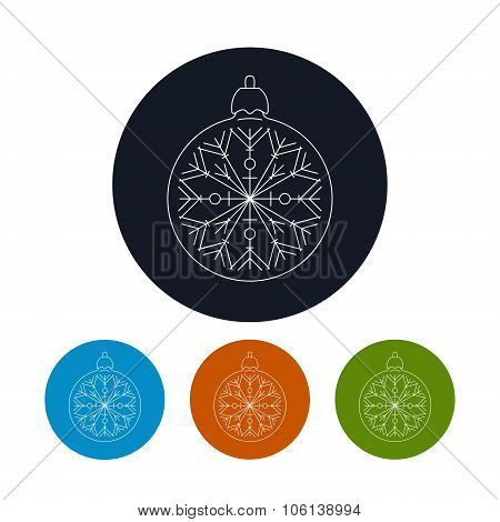 Icon Of A Christmas Ball With Snowflake