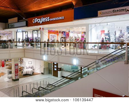 Coquitlam, BC, Canada - October 08, 2015 : One side of shopping mall in BC Canada. It is located in the central of Coquitlam.