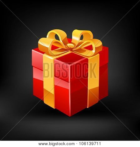 Red gift. Vector