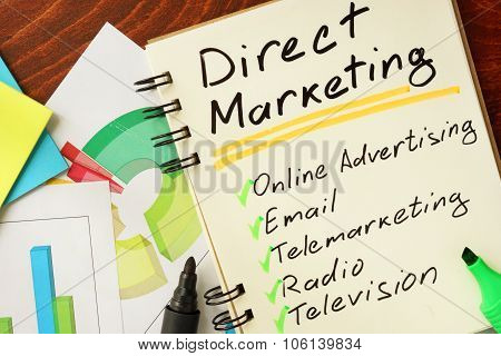 Notepad with direct marketing concept.