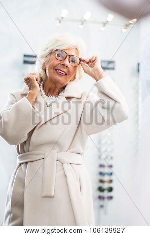Senior Woman With New Eyeglasses