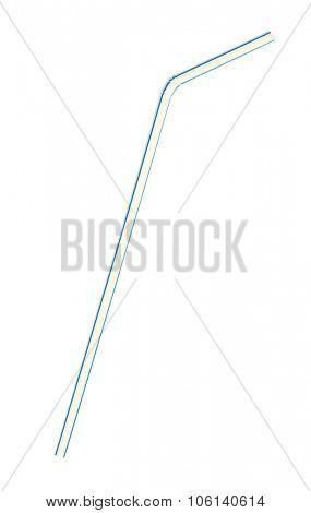 Single colorful cocktail straw on a white background