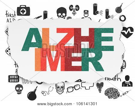 Healthcare concept: Alzheimer on Torn Paper background