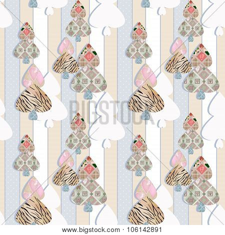Patchwork Seamless Pattern With Hearts And Elements Background