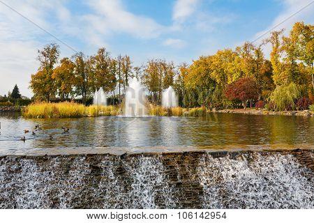The Fountain And Waterfall In Mezhyhirya