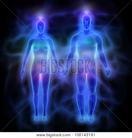 Human energy body (aura) with chakras - woman and man