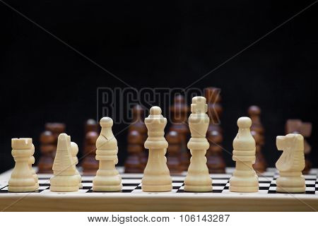 The Beginning Of A Chess Game On The Black Backgroung