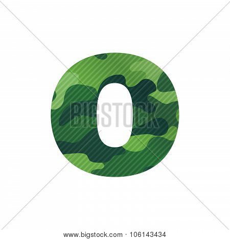 O Letter With Green Camouflage.