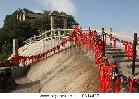 Stairs with locks at Hua Shang Mountain, China