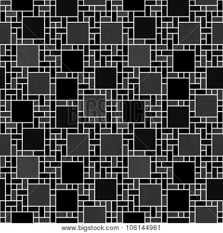Black And White Square Mosaic Abstract Geometric Design Tile Pattern Repeat Background