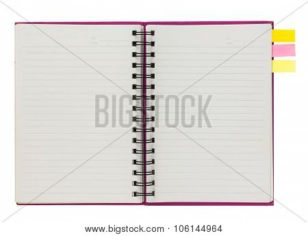 Blank Pink Spiral Notebook With Note Paper Isolated On White