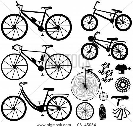 Six kinds of bicycles: mountain (or cross-country) bike, road bike, city bike, bmx bike, kids bike a