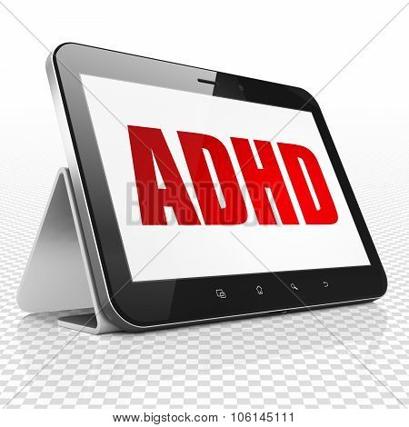 Healthcare concept: Tablet Computer with ADHD on display