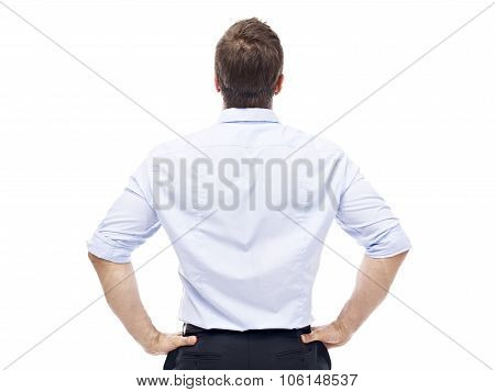 Rear View Of A Caucasian Businessman