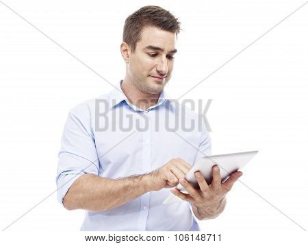 Caucasian Businessman Using Tablet Computer